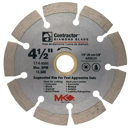 M.K. Diamond 4-1/2 in. Dia. Diamond Segmented Rim Circular Saw Blade For Cutting Concrete and Mas