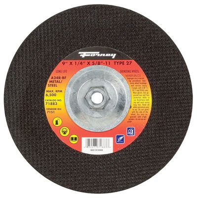 Forney 9 in. Dia. x 5/8 in.-11 in. x 1/4 in. thick Metal Grinding Wheel