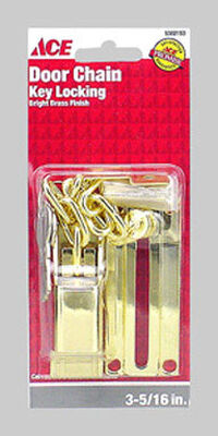Ace 3.32 in. L Bright Brass Keyed Chain Door Guard