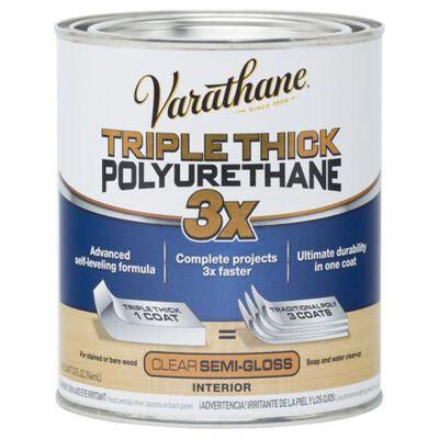 Varathane Triple Thick Transparent Clear Semi-Gloss Polyurethane 1 qt. Indoor