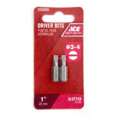 Ace #3-4 Slotted Screwdriver Bit 1/4 in. Dia. x 1 in. L 2 pc.