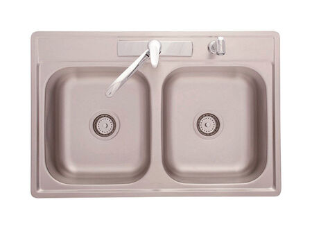 Kindred Satin Stainless Steel Top Mount 33 in. W x 22 in. L Double Kitchen Sink Stainless Steel