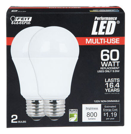 FEIT Electric LED Bulb 9.5 watts 800 lumens 3000 K A-Line A19 Medium Base (E26) 60 watts equiva