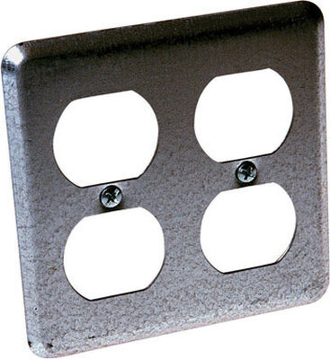 Raco Square Steel 2 gang Electrical Box Cover For For 2 Gang Switch Box Cover Gray