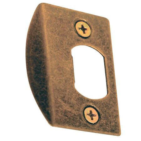 Prime-Line Deadlatch Door Strike 1-5/8 in. 5.4 in. x 3.8 in. x 0.4 in. Antique Brass Steel Use to Re