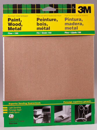 3M Aluminum Oxide Sandpaper 11 in. L 150 Grit Fine 5 pk