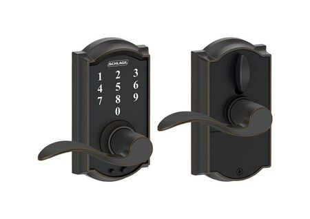 Schlage Camelot Aged Bronze 1-3/4 in. Electric Touch Screen Entry Lock 2 Grade