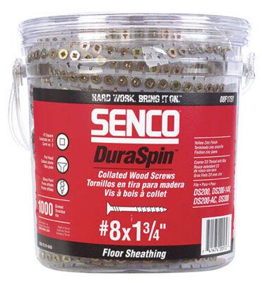 Senco DuraSpin Flat Wood Screws No. 8 x 1-3/4 in. L Yellow Zinc Steel 1 000 pk