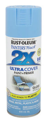 Rust-Oleum Painter's Touch Ultra Cover Spa Blue Gloss 2x Paint+Primer Enamel Spray 12 oz.
