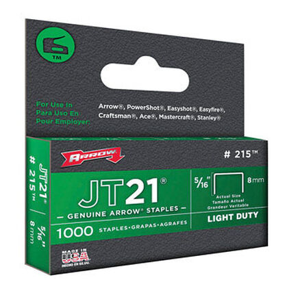 Arrow JT21 Wide Light Duty Staples Gray 5/16 in. L