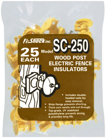 Fi-Shock Electric Electric Fence Insulator 25 pk Yellow
