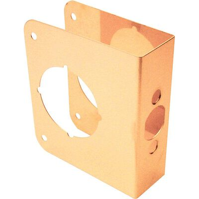 Prime-Line Door Reinforcer Entry 2.25 in. 6.38 in x 5.38 in. x 2.25 in. Brass Solid Brass Use on Thi