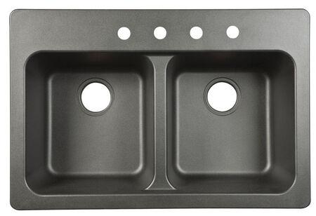 Franke Tectonite Dual Mount 22 in. W x 33 in. L Double Kitchen Sink Black