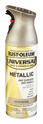 Rust-Oleum Universal Paint & Primer in One Satin Nickel Metallic Metallic Spray 11 oz.