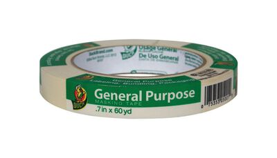 Duck 0.7 in. W x 60 yd. L General Purpose Masking Tape High Strength White 1 pk