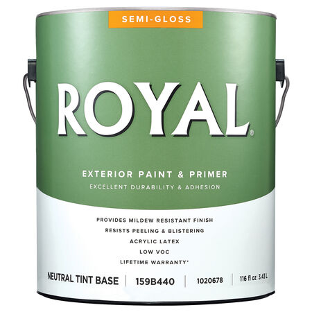 Royal Semi-Gloss Neutral Base Acrylic Latex Paint and Primer in One Outdoor 1 gal.