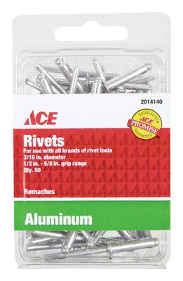 Ace 3/16 in. Dia. x 5/8 in. Aluminum Rivets 50 pk