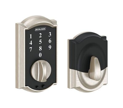 Schlage Touch Screen Deadbolt Steel 1-3/4 in. For Interior and Exterior Doors Grade 2 Satin Nick