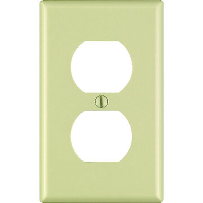 Leviton 1 gang Ivory Plastic Duplex Outlet Wall Plate 10 pk