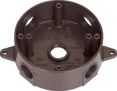 Sigma 2-5/16 in. H Round 5 Gang Outlet Box 1/2 in. Bronze Aluminum