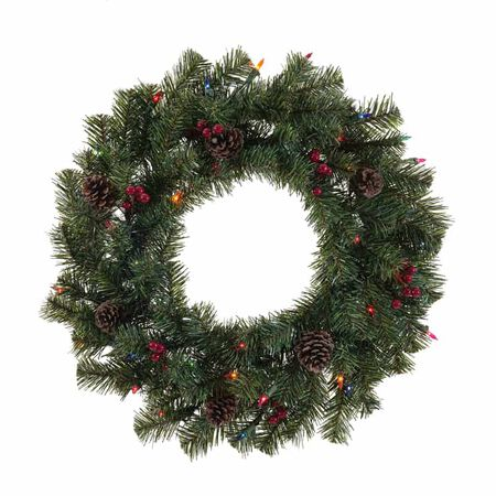 Celebrations 24 in. Dia. Incandescent Prelit Decorated Christmas Wreath