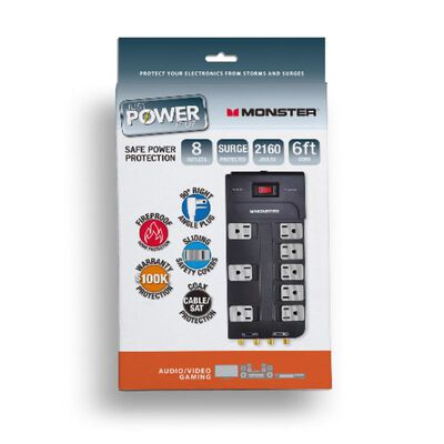Monster Just Power It Up 6 ft. L 8 outlets Surge Protector Black