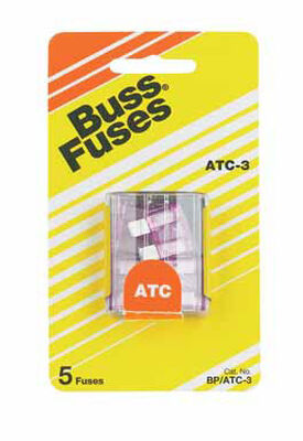 Bussmann 3 amps ATC Automotive Blade Fuse 5 pk