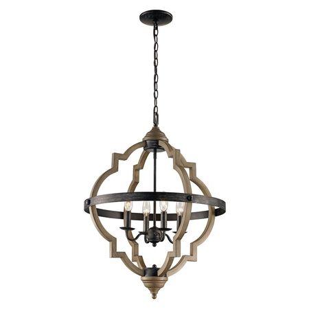 Bel Air Lighting 4-Light Dark Bronze Pendant with Metal Shade