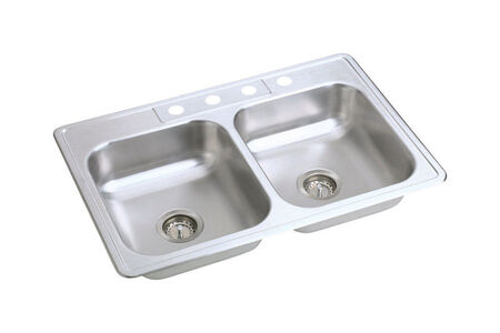 Kindred Satin Top Mount 33 in. W x 22 in. L Double Bowl Sink Stainless Steel