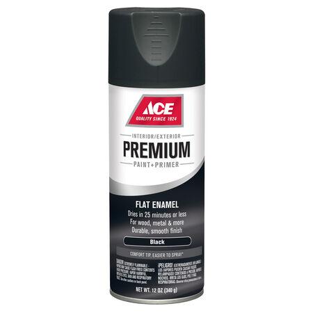 Ace Premium Flat Black Enamel Spray Paint 12 oz.