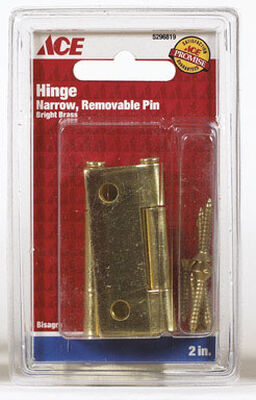 Ace 2 in. L Narrow Hinge Bright Brass