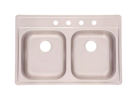 Elkay Neptune Satin Top Mount 22 in. W x 33 in. L Double Bowl Sink