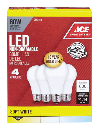 Ace LED Bulb 9.5W watts 800 lumens 2700 K A-Line A19 60 watts equivalency 4 pk