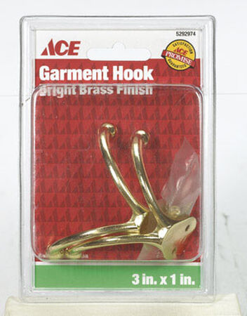 Ace Small Double Garment Hook 1-3/4 in. L Brass 2 pk