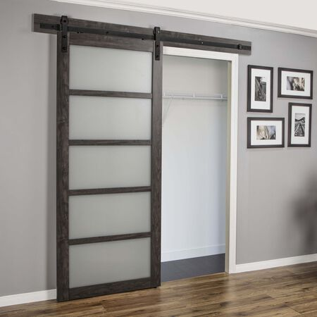 Renin 5 Lite 84 in. H x 36 in. W Wood Iron Age Pavilion Barn Door