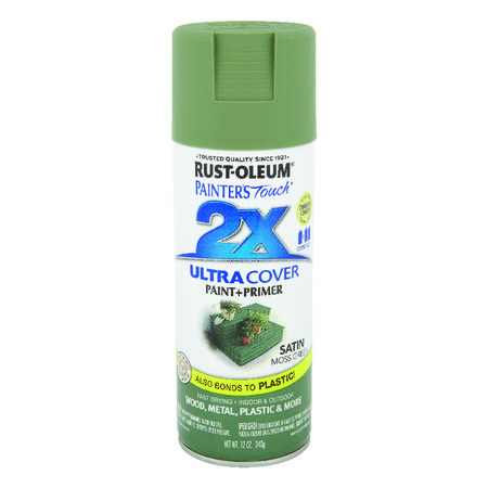 Rust-Oleum Painter's Touch 2X Ultra Cover Satin Moss Green Spray Paint 12 oz.