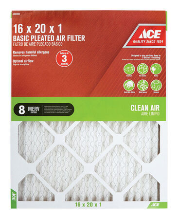 Ace 20 in. L x 16 in. W x 1 in. D Pleated Air Filter 8 MERV