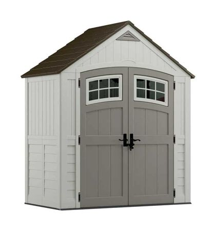 Suncast Cascade 8.5 ft. H x 7 ft. W x 4 ft. D Vanilla Resin Storage Shed