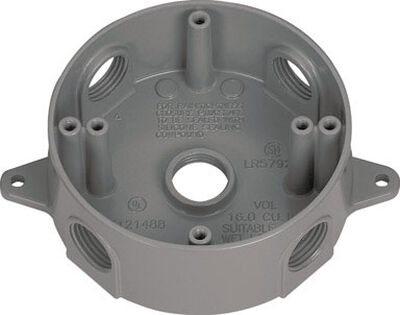Sigma 5-1/2 in. H Round 5 Gang Outlet Box 1/2 in. Gray Aluminum