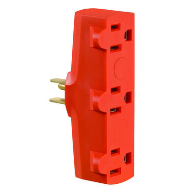 Leviton Polarized 3 Outlet Grounding Adapter Orange 15 amps 125 volts 1 pk