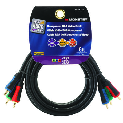 Monster Just Hook It Up 6 ft. L Component RCA Video Cable RCA