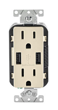Leviton Decora Receptacle and USB Charger 15 amps 5-15 R 125 volts Light Almond