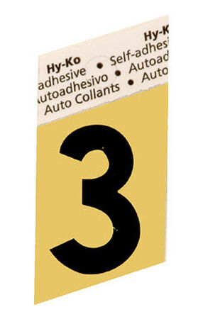 Hy-Ko Self-Adhesive Black Aluminum Number 3 1-1/2 in.