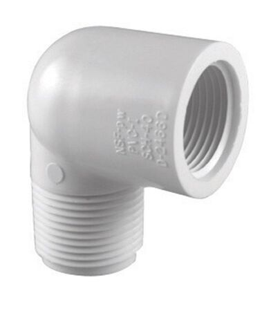 Charlotte Pipe Schedule 40 MPT To MPT 1/2 in. Dia. x 1/2 in. Dia. 90 deg. PVC Street Elbow