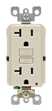 Leviton GFCI Receptacle 20 amps 5-20R 125 volts Light Almond