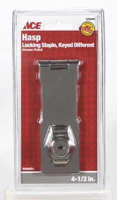Ace Chrome Keyed Hasp Lock 4-1/2 in. L