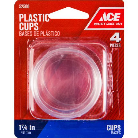 Ace Plastic Round Caster Cup Clear 1-7/8 in. W 4 pk