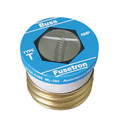 Bussmann T-Type Plug 6.25 amps 125 volts 1-3/16 in. Dia. x 1-1/4 in. L 1 pk For Small Motor Overlo
