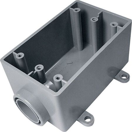 Cantex 2-1/4 in. H Rectangle 1 Gang Electrical Box 3/4 in. Gray PVC