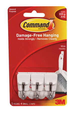 3M Command Small Wire Hook 1-5/8 in. L Plastic 1/2 lb. per Hook 3 pk